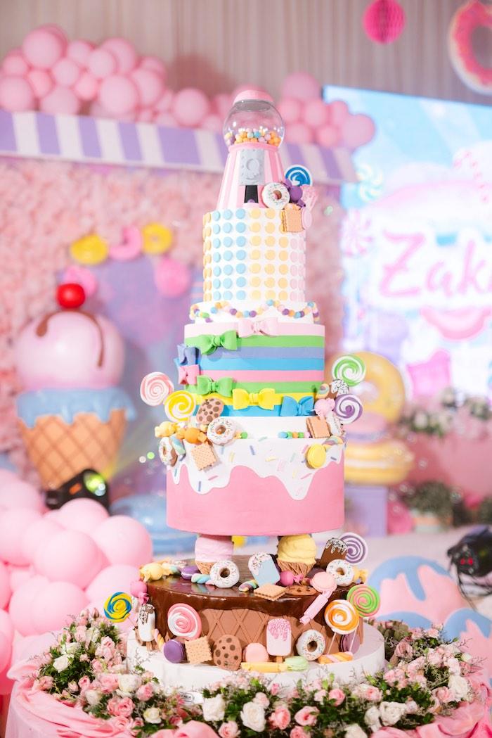Dessert Themed Birthday Cake from a Dessert World Birthday Party on Kara's Party Ideas | KarasPartyIdeas.com (32)