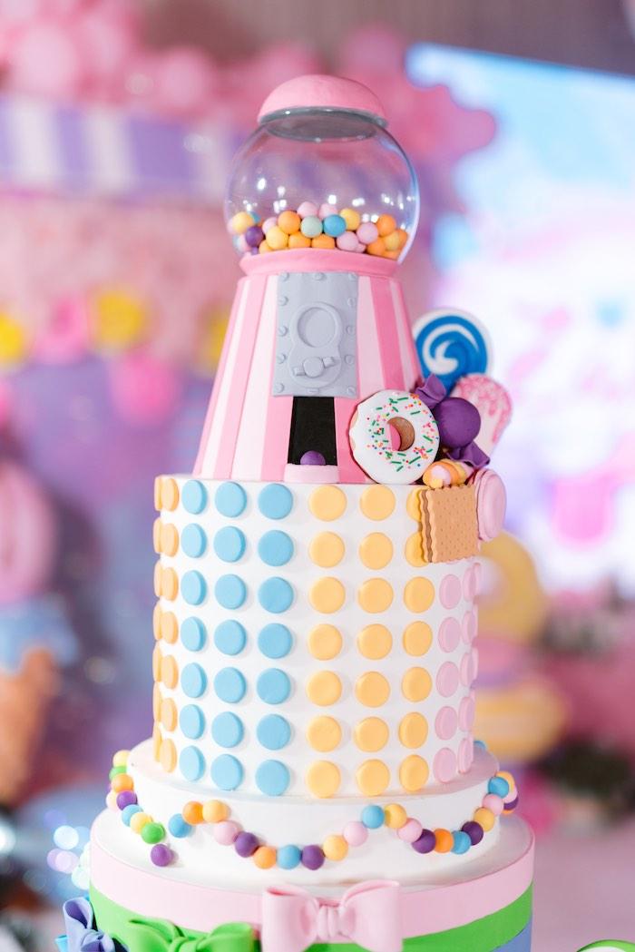 Gumball Machine Cake Top from a Dessert World Birthday Party on Kara's Party Ideas | KarasPartyIdeas.com (31)