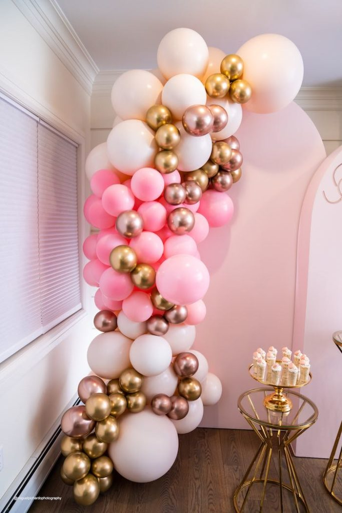 Glam Balloon Garland from an Elegant Chanel Inspired Sweet 16 Dinner Party on Kara's Party Ideas | KarasPartyIdeas.com (10)