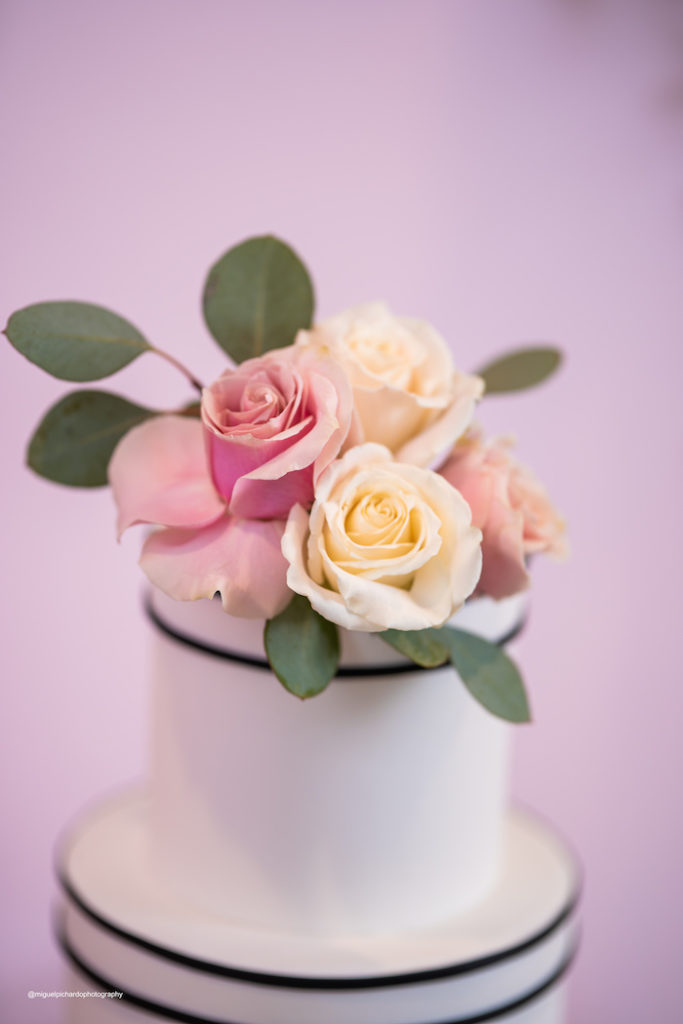 Rose-topped Cake from an Elegant Chanel Inspired Sweet 16 Dinner Party on Kara's Party Ideas | KarasPartyIdeas.com (8)