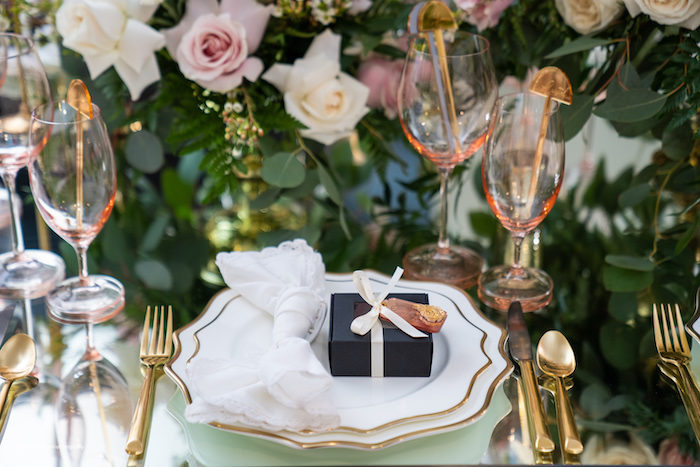 Elegant White + Gold Table Setting from an Elegant Chanel Inspired Sweet 16 Dinner Party on Kara's Party Ideas | KarasPartyIdeas.com (7)