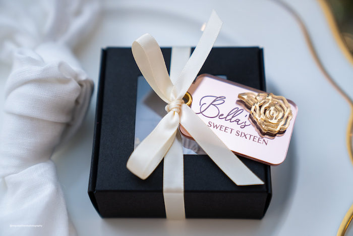 Custom Favor Box from an Elegant Chanel Inspired Sweet 16 Dinner Party on Kara's Party Ideas | KarasPartyIdeas.com (6)