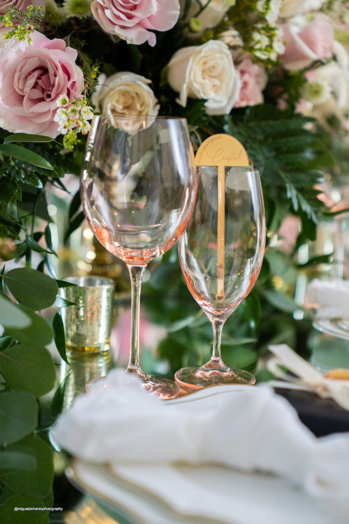 Pink Glasses with Custom Stir Stick from an Elegant Chanel Inspired Sweet 16 Dinner Party on Kara's Party Ideas | KarasPartyIdeas.com (5)