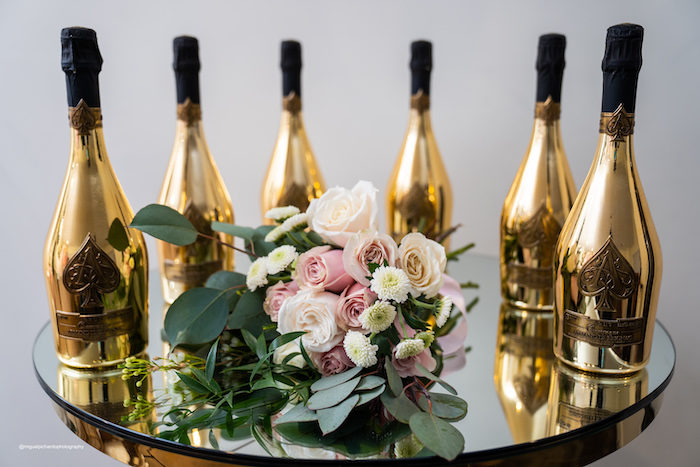Gold Sparkling Cider + Champagne Bottles from an Elegant Chanel Inspired Sweet 16 Dinner Party on Kara's Party Ideas | KarasPartyIdeas.com (23)