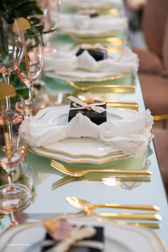 Table Settings + Guest Tablescape from an Elegant Chanel Inspired Sweet 16 Dinner Party on Kara's Party Ideas | KarasPartyIdeas.com (3)