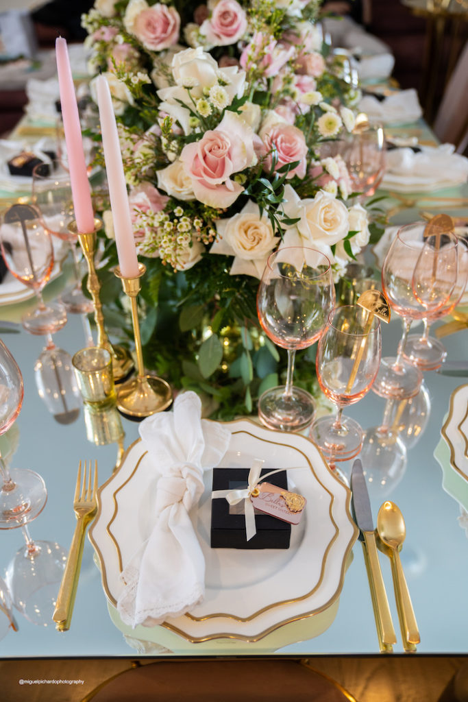 Table Setting from an Elegant Chanel Inspired Sweet 16 Dinner Party on Kara's Party Ideas | KarasPartyIdeas.com (2)