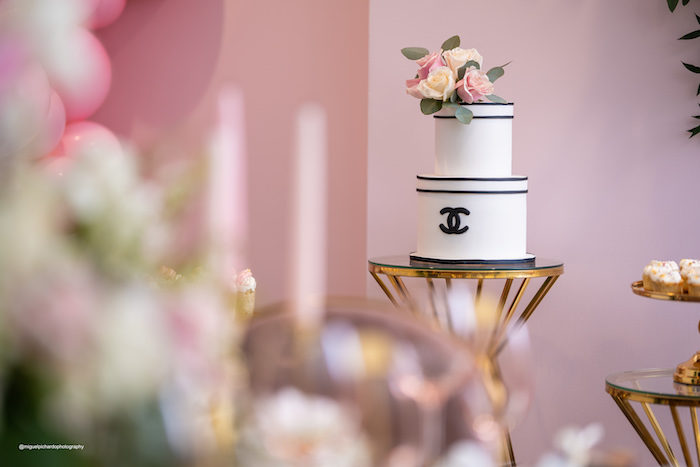 Chanel Inspired Cake from an Elegant Chanel Inspired Sweet 16 Dinner Party on Kara's Party Ideas | KarasPartyIdeas.com (22)