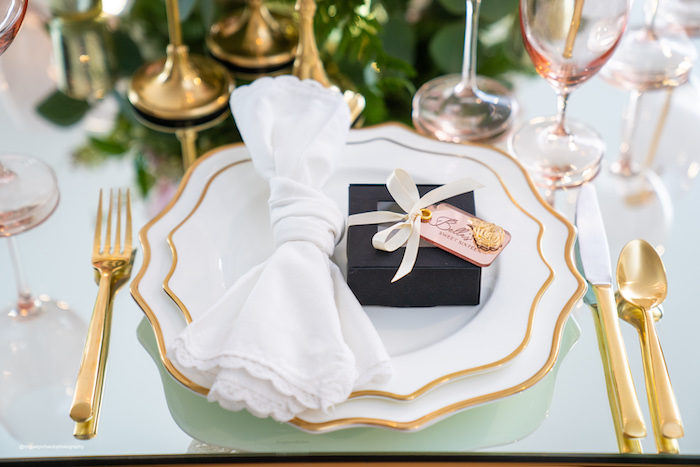 White + Gold Table Setting from an Elegant Chanel Inspired Sweet 16 Dinner Party on Kara's Party Ideas | KarasPartyIdeas.com (21)