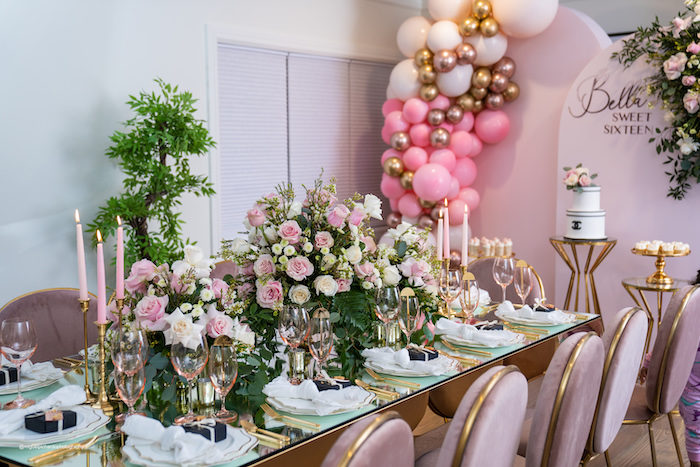 Pink + White + Golf Floral Guest Table from an Elegant Chanel Inspired Sweet 16 Dinner Party on Kara's Party Ideas | KarasPartyIdeas.com (20)