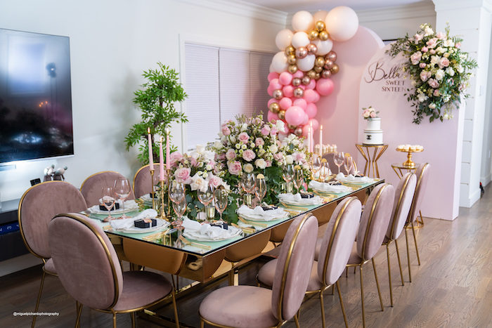 Pink + White + Golf Floral Guest Table from an Elegant Chanel Inspired Sweet 16 Dinner Party on Kara's Party Ideas | KarasPartyIdeas.com (19)
