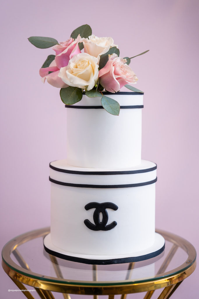 Chanel Themed Cake from an Elegant Chanel Inspired Sweet 16 Dinner Party on Kara's Party Ideas | KarasPartyIdeas.com (16)