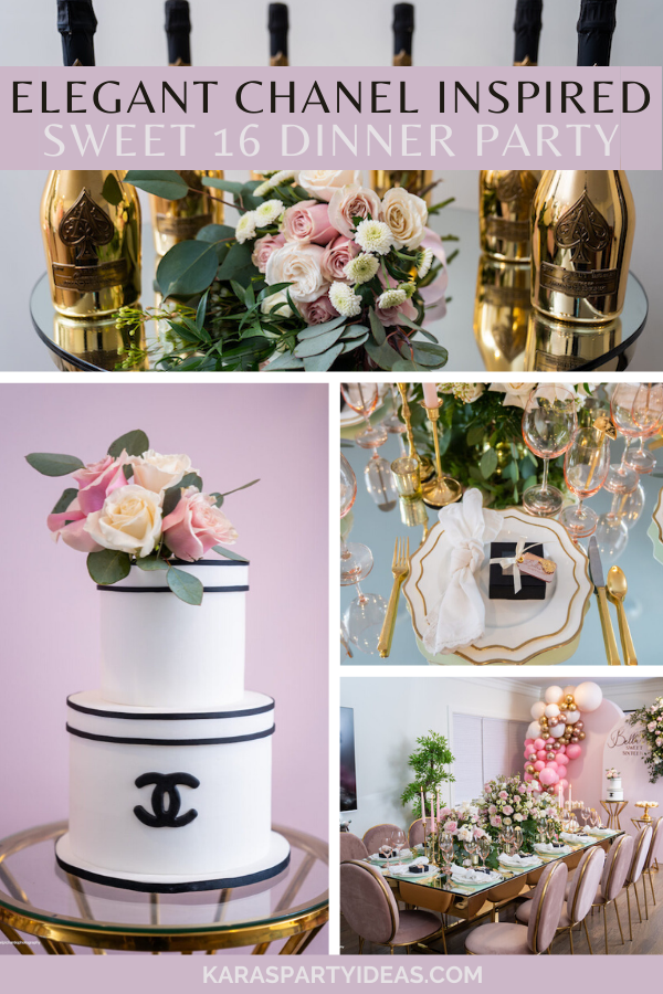 Elegant Chanel Inspired Sweet 16 Dinner Party via Kara's Party Ideas - KarasPartyIdeas.com
