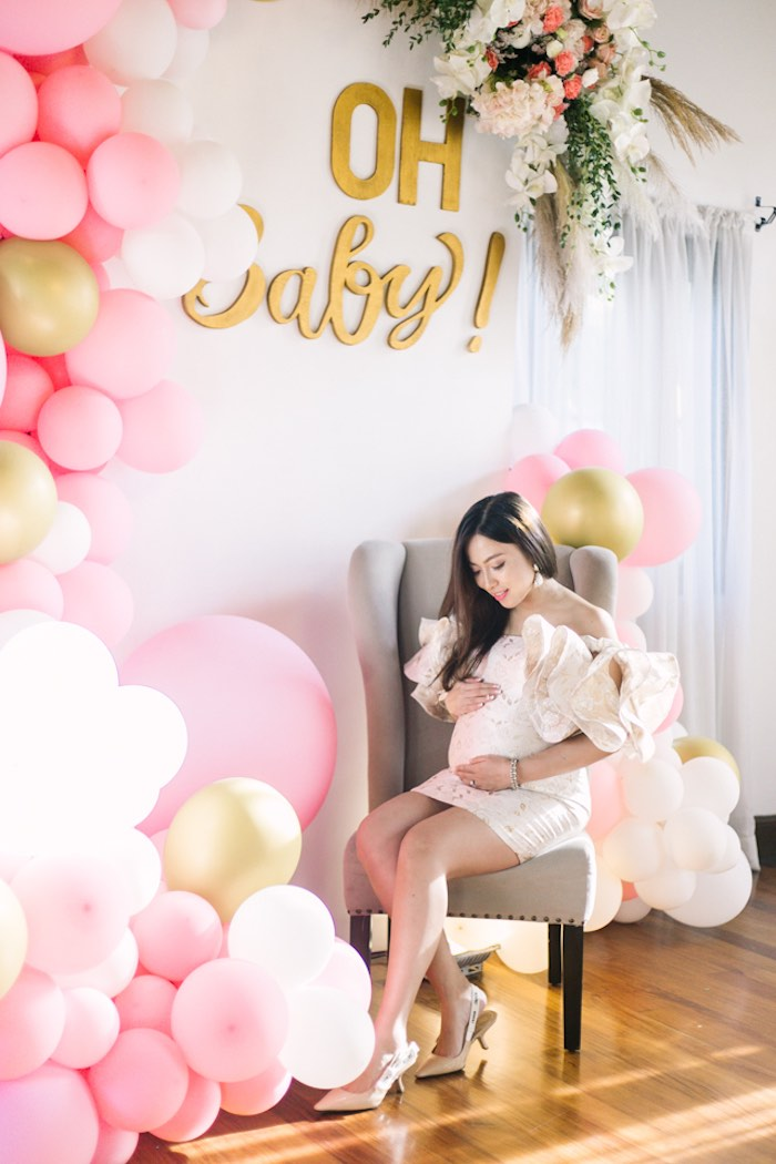 Oh Baby Backdrop from an Elegant Floral Baby Shower on Kara's Party Ideas | KarasPartyIdeas.com (17)