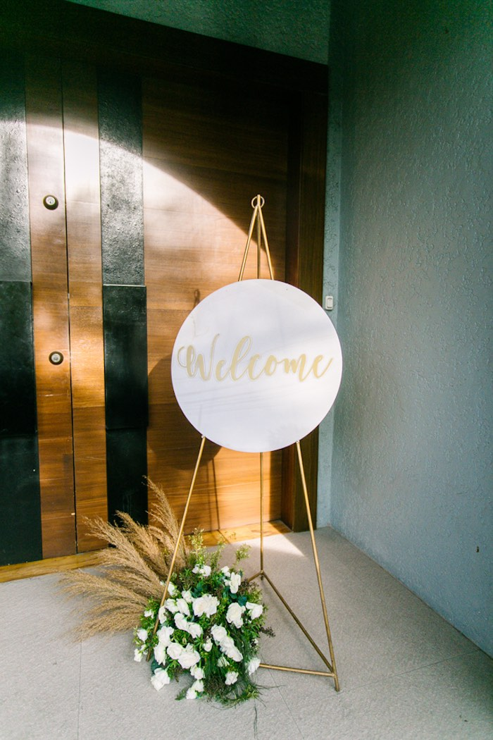 Welcome Sign from an Elegant Floral Baby Shower on Kara's Party Ideas | KarasPartyIdeas.com (15)