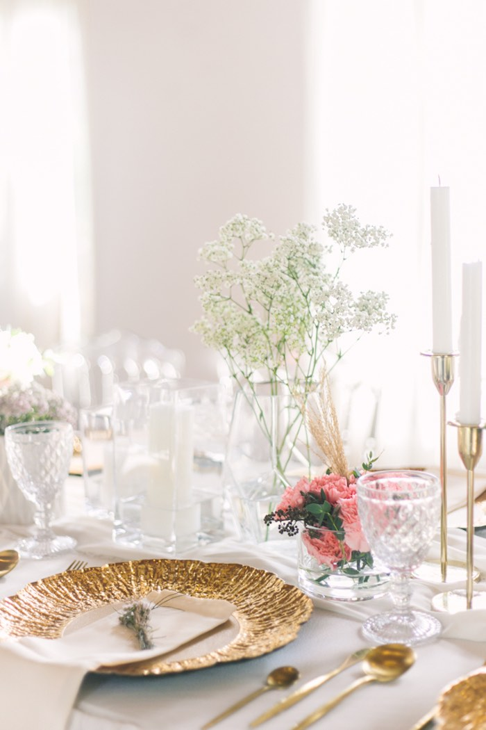 Gold Plate Table Setting from an Elegant Floral Baby Shower on Kara's Party Ideas | KarasPartyIdeas.com (9)
