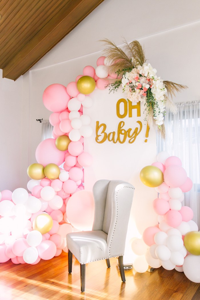 Oh Baby Backdrop from an Elegant Floral Baby Shower on Kara's Party Ideas | KarasPartyIdeas.com (27)