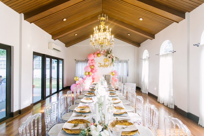 Guest Table + Dining Hall from an Elegant Floral Baby Shower on Kara's Party Ideas | KarasPartyIdeas.com (3)