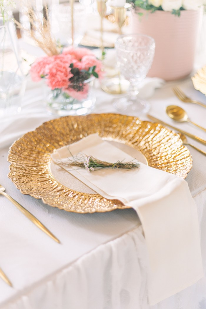 Gold + White Floral-inspired Table Setting from an Elegant Floral Baby Shower on Kara's Party Ideas | KarasPartyIdeas.com (21)