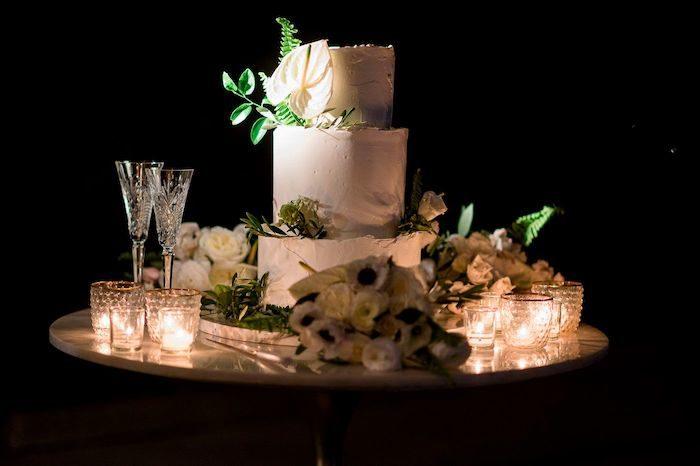 Modern White Wedding Cake from an Elegant Floral Urban Wedding on Kara's Party Ideas | KarasPartyIdeas.com (33)