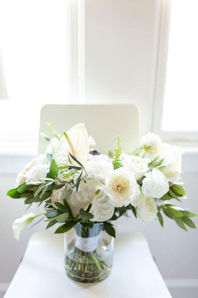 White Bridal Bouquet from an Elegant Floral Urban Wedding on Kara's Party Ideas | KarasPartyIdeas.com (32)