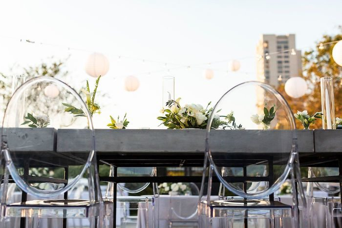 Guest Tables lined with Ghost Chairs from an Elegant Floral Urban Wedding on Kara's Party Ideas | KarasPartyIdeas.com (30)