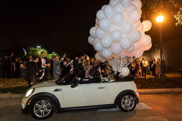 Mini Cooper Get-away Car tied with White Balloons from an Elegant Floral Urban Wedding on Kara's Party Ideas | KarasPartyIdeas.com (16)