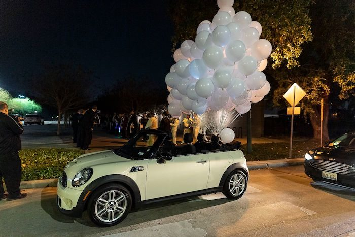 Mini Cooper Get-away Car tied with White Balloons from an Elegant Floral Urban Wedding on Kara's Party Ideas | KarasPartyIdeas.com (12)
