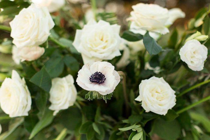 White Rose & Anemone Floral Arrangement from an Elegant Floral Urban Wedding on Kara's Party Ideas | KarasPartyIdeas.com (10)