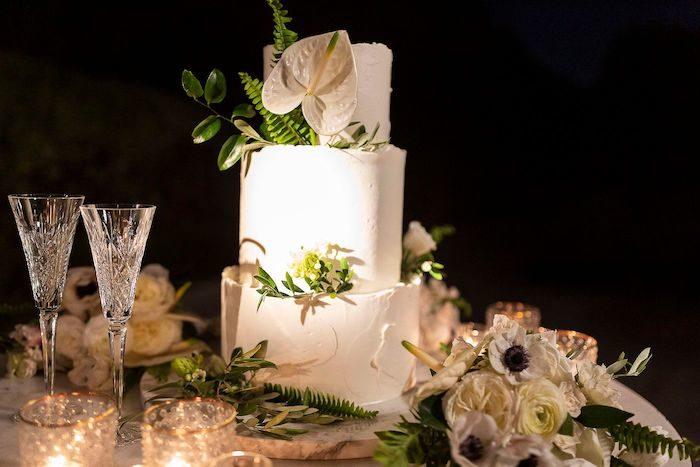 Modern White Cake from an Elegant Floral Urban Wedding on Kara's Party Ideas | KarasPartyIdeas.com (9)