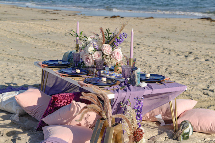 Seaside Guest Table from a Geode 18th Birthday Seaside Party on Kara's Party Ideas | KarasPartyIdeas.com (21)