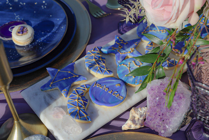 Gem-inspired Cookies from a Geode 18th Birthday Seaside Party on Kara's Party Ideas | KarasPartyIdeas.com (19)