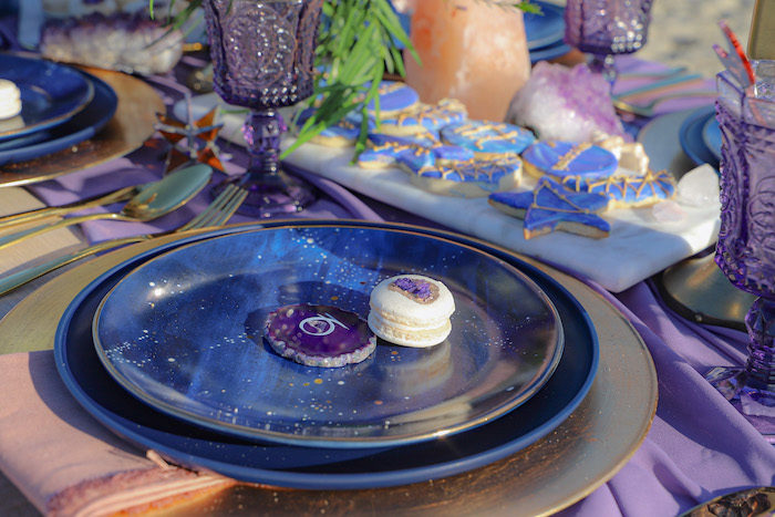 Table Setting from a Geode 18th Birthday Seaside Party on Kara's Party Ideas | KarasPartyIdeas.com (14)