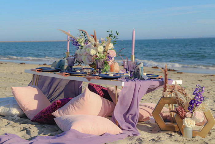 Seaside Guest Table from a Geode 18th Birthday Seaside Party on Kara's Party Ideas | KarasPartyIdeas.com (11)
