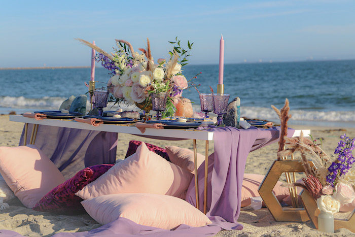 Seaside Guest Table from a Geode 18th Birthday Seaside Party on Kara's Party Ideas | KarasPartyIdeas.com (10)