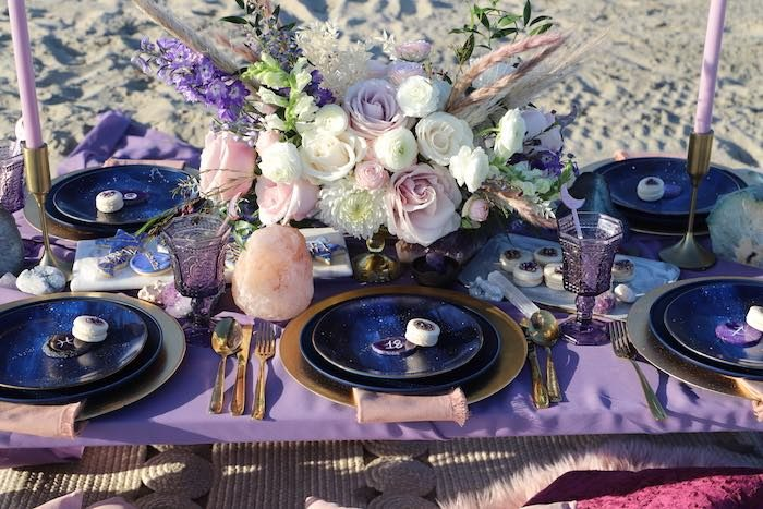 Guest Table from a Geode 18th Birthday Seaside Party on Kara's Party Ideas | KarasPartyIdeas.com (9)