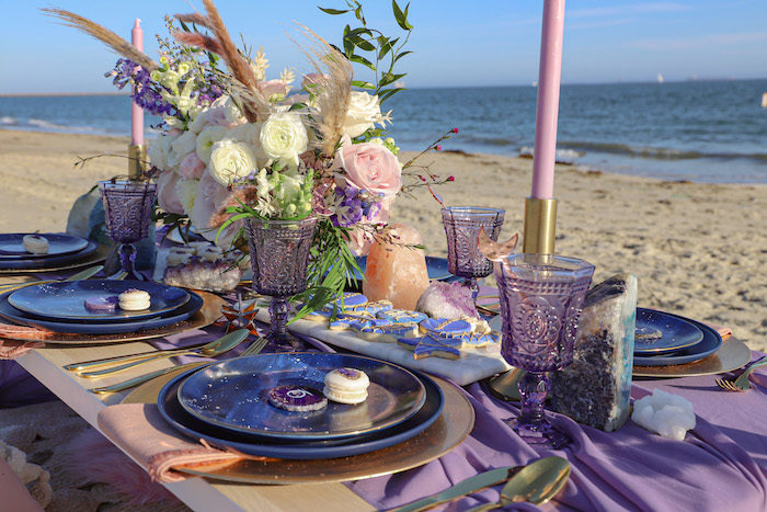 Seaside Guest Table from a Geode 18th Birthday Seaside Party on Kara's Party Ideas | KarasPartyIdeas.com (28)