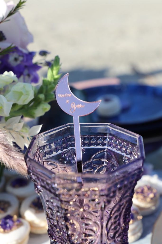 Crescent Moon Drink Stirrer from a Geode 18th Birthday Seaside Party on Kara's Party Ideas | KarasPartyIdeas.com (24)