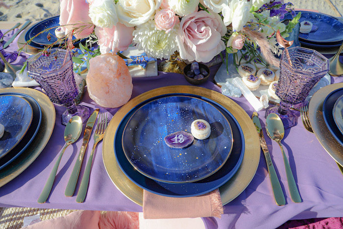 Table Setting from a Geode 18th Birthday Seaside Party on Kara's Party Ideas | KarasPartyIdeas.com (23)