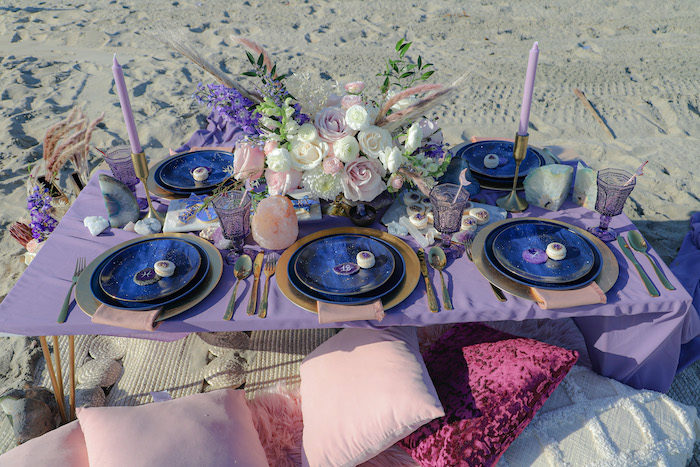 Guest Table from a Geode 18th Birthday Seaside Party on Kara's Party Ideas | KarasPartyIdeas.com (22)
