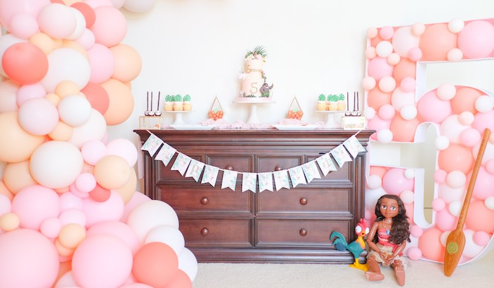 Disney's Moana Themed Dessert Table from a Girly Moana Island Birthday Party on Kara's Party Ideas | KarasPartyIdeas.com (6)