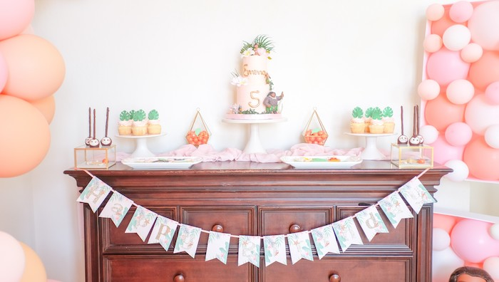Disney's Moana Themed Dessert Table from a Girly Moana Island Birthday Party on Kara's Party Ideas | KarasPartyIdeas.com (5)