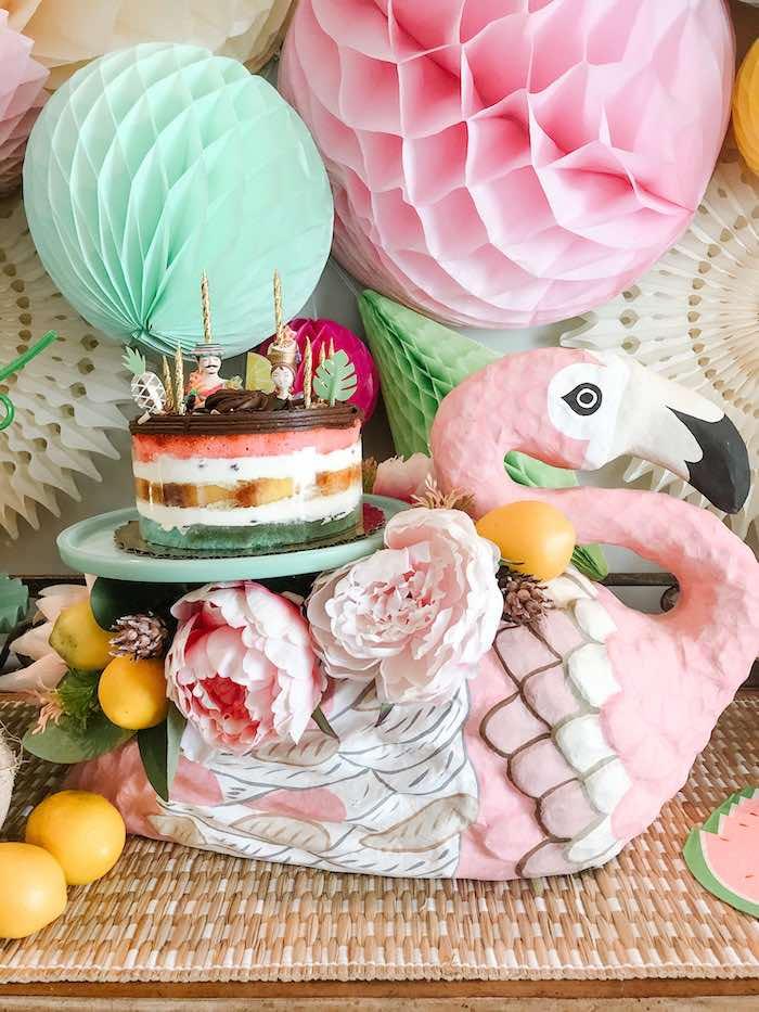 Flamingo Fiesta Cake from a Glam Tropical Flamingo Party on Kara's Party Ideas | KarasPartyIdeas.com (5)