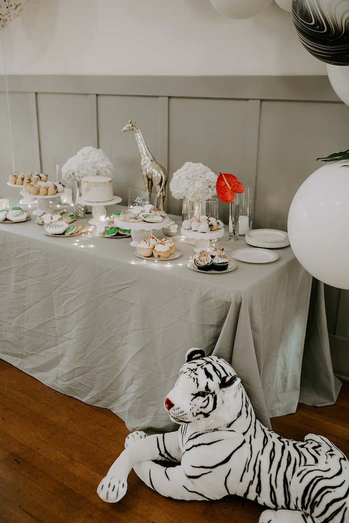 Jungle Themed Sweet Table from a Jungle Safari Baby Shower on Kara's Party Ideas | KarasPartyIdeas.com (16)
