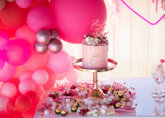 Cake + Candy Grazing Table from a Neon Pink Bride-To-Be Bridal Shower on Kara's Party Ideas | KarasPartyIdeas.com (6)
