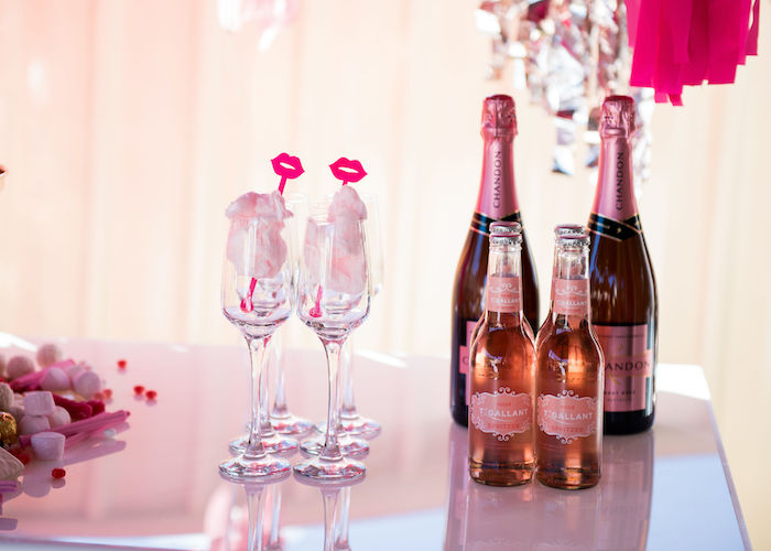 Cotton Candy-filled Wine Glasses + Beverages from a Neon Pink Bride-To-Be Bridal Shower on Kara's Party Ideas | KarasPartyIdeas.com (18)