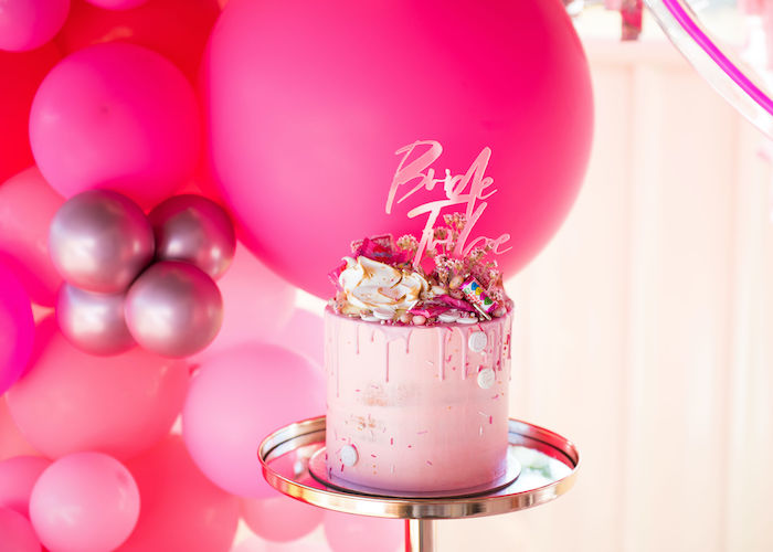 Candy-topped Drip Cake from a Neon Pink Bride-To-Be Bridal Shower on Kara's Party Ideas | KarasPartyIdeas.com (16)