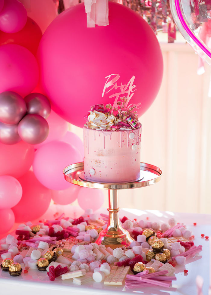 Cake Table from a Neon Pink Bride-To-Be Bridal Shower on Kara's Party Ideas | KarasPartyIdeas.com (15)