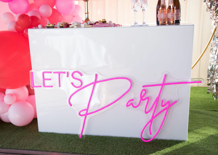 Let's Party Table from a Neon Pink Bride-To-Be Bridal Shower on Kara's Party Ideas | KarasPartyIdeas.com (14)