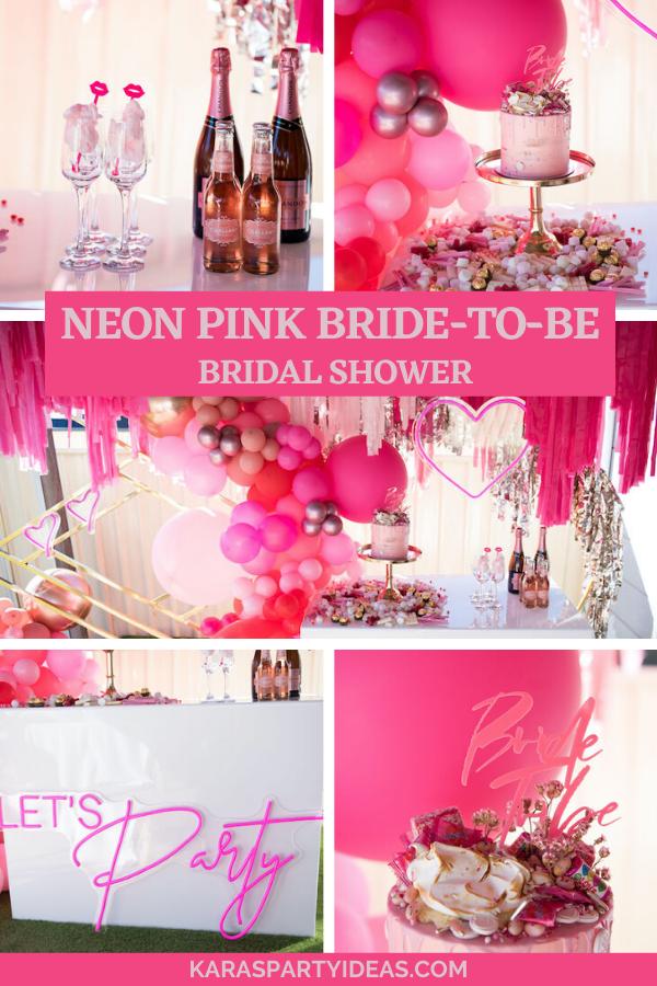 Neon Pink Bride-To-Be Bridal Shower via Kara's Party Ideas - KarasPartyIdeas.com