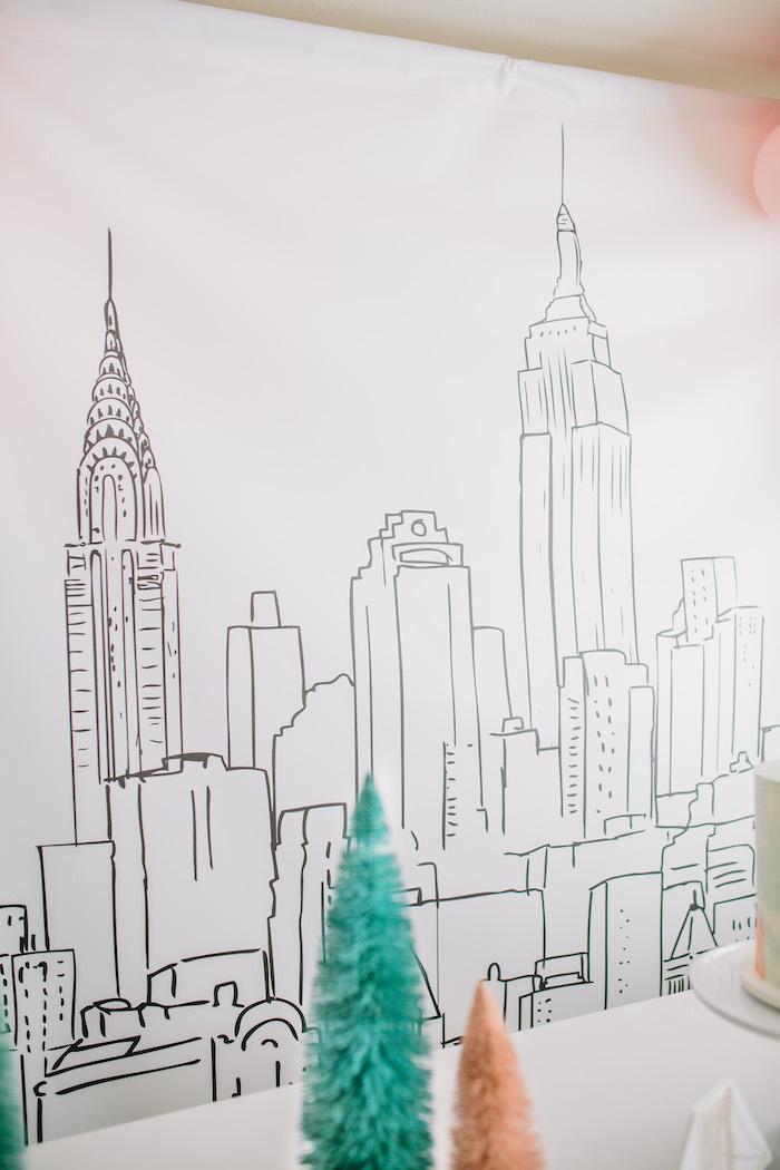 New York City Cityscape Backdrop from a Pastel New York City Birthday Party on Kara's Party Ideas | KarasPartyIdeas.com (33)